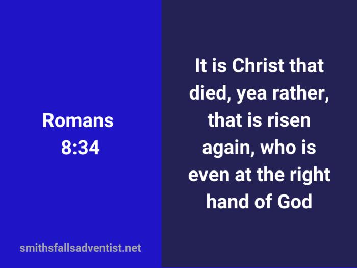 Illustration-background-light blue-title-He is risen - Romans 8 verse 34-text