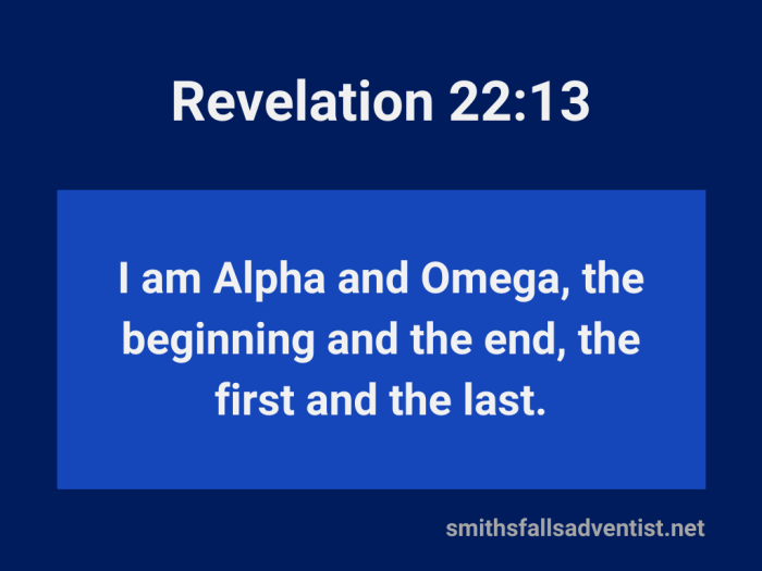 Illustration-background-light and dark blue rectangles-title-I am Alpha and Omega-text-Bible verse