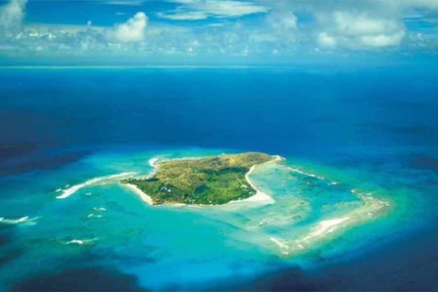 Aerial Image of Richard Bransons Private Caribbean Island