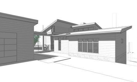 2016014_Benjey Residence - 3D View - PERSPECTIVE OF FRONT ENTRY FROM DRIVEWAY