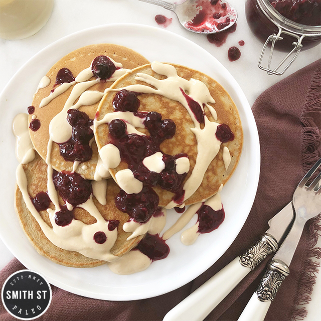 Paleo Breakfast - Banana pancakes with berry compote and cashew cream