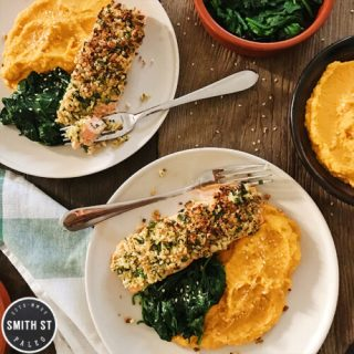 Nut Crusted Salmon with Carrot Mash & Sauteed Spinach