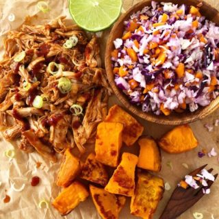 Pulled BBQ Chicken With Sweet Potato & Slaw