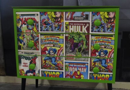 Bedroom 3 drawer unit, repainted with Marvel decoupage top and drawer fronts £50