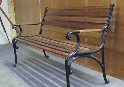 Bench with cast iron frame, the timber has been recycled £80
