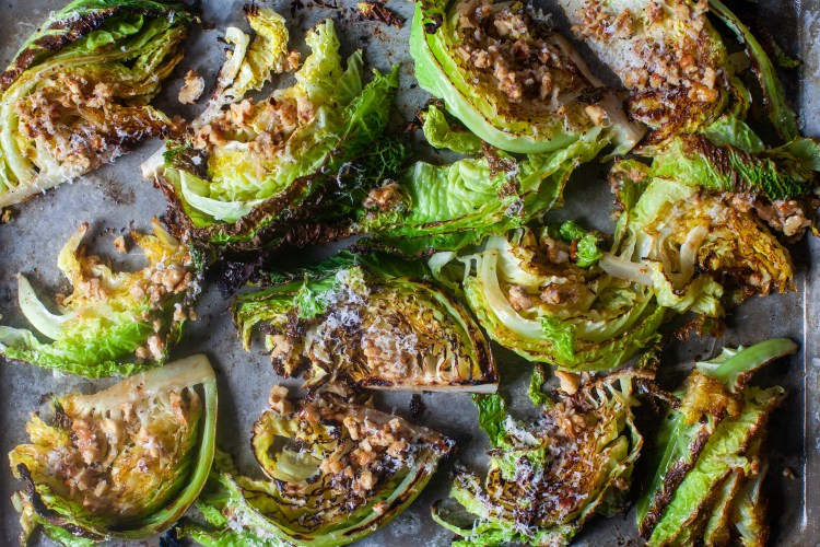 Roasted cabbage wedges with Parmesan