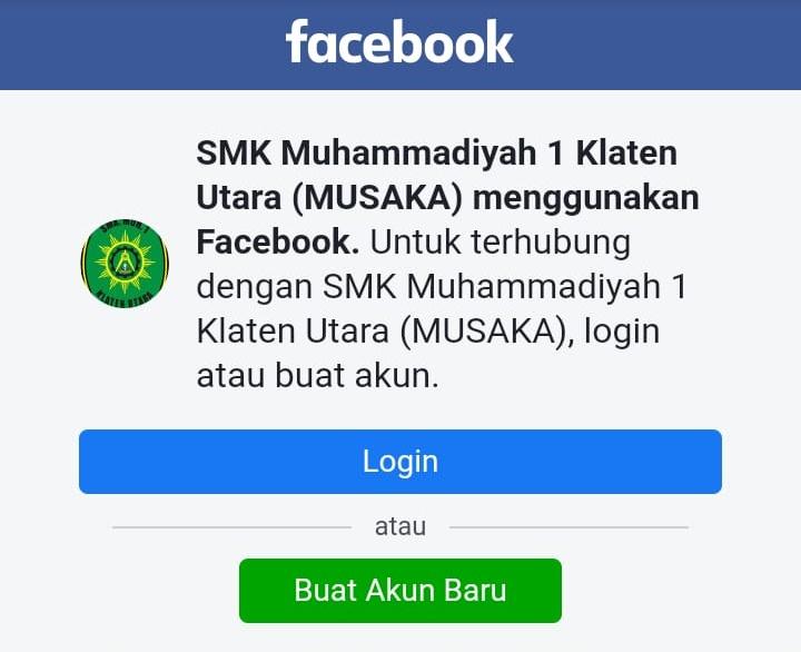 Facebook SMK Muh 1 Klaten Utara include dengan web