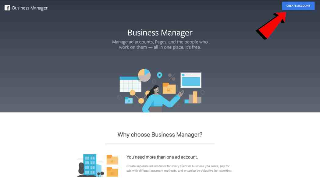 business manager create account button