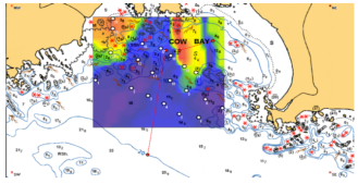 Acoustic map of Cow Bay, calm weather conditions
