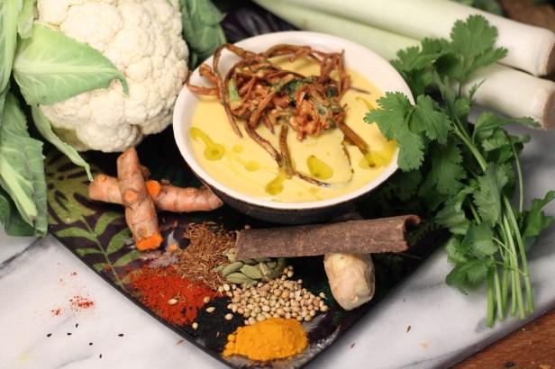 Spiced cauliflower soup to start