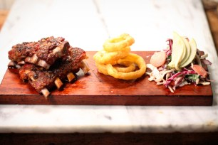 Dry rubbed ribs, onion rings and rainbow slaw