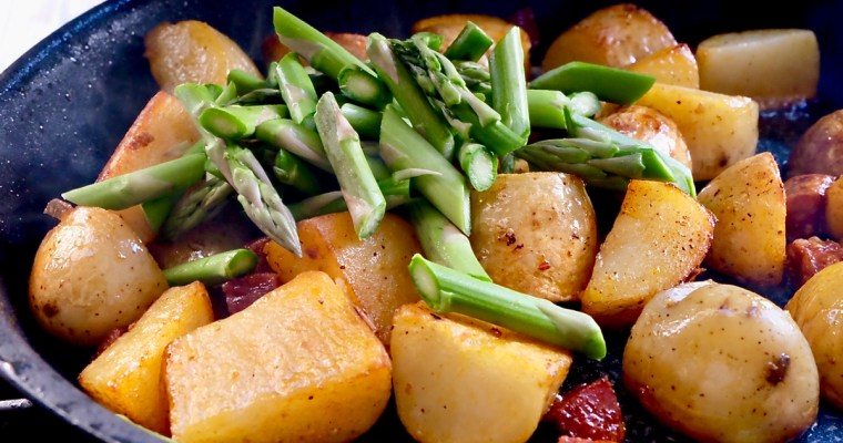 Chorizo sautéed new Potatoes with Asparagus