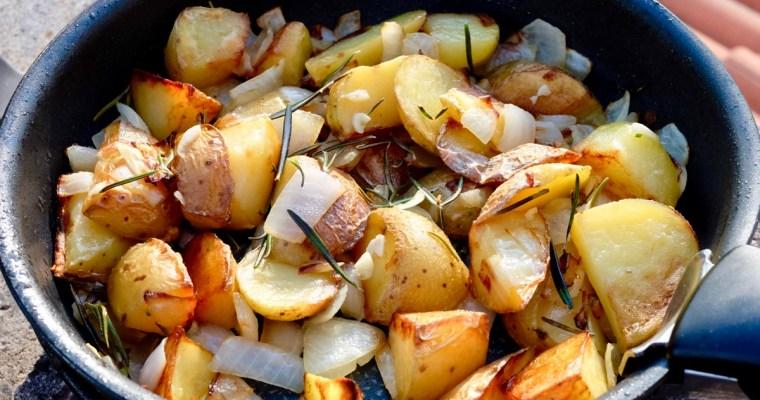 Sautéed Potatoes with Onion, Garlic Rosemary and Peas