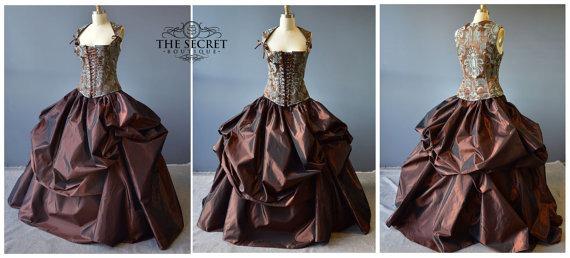 Steampunk Wedding Dress, Custom Made Alternative Corset