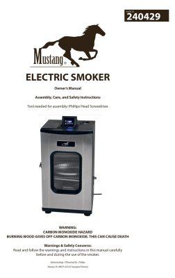 Mustang electric smoker manual
