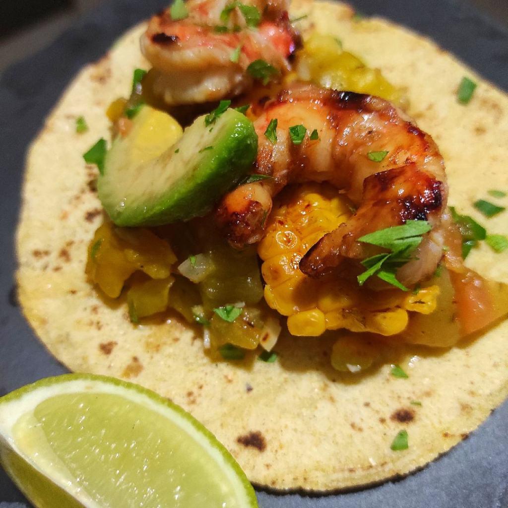 tacos di gamberoni al bbq