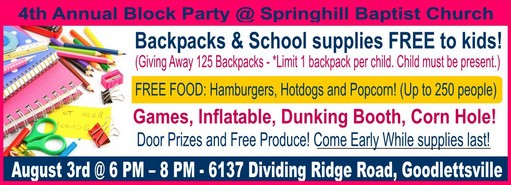 Springhill Baptist block party back to school 511