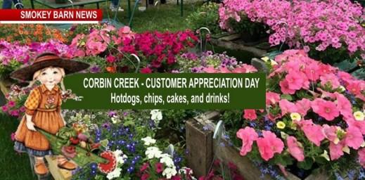 Corbin Creek Customer Appreciation Day Saturday May 12 And Mother's DayCelebration