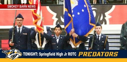 Springfield High Jr ROTC Color Guard Presenting Colors At Predators Game TONIGHT