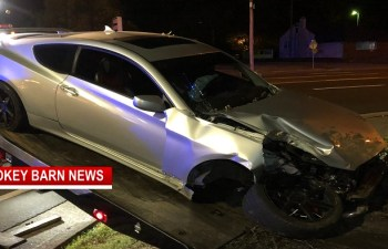 Sports Car Totaled After Impacting Funeral Home Tree (Driver OK)