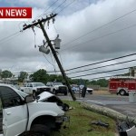 Two Escape Serious Injury After Utility Pole Crash