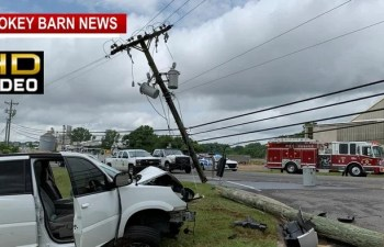 Two Escape Serious InjuryAfter Utility Pole Crash