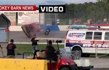 Driver Survives Fiery Rollover Crash At Veteran's Motorplex