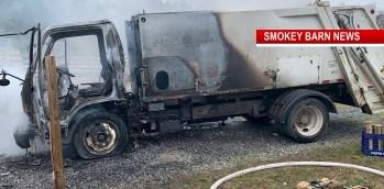 Garbage Truck Ignites Near Greenbrier, Driver OK