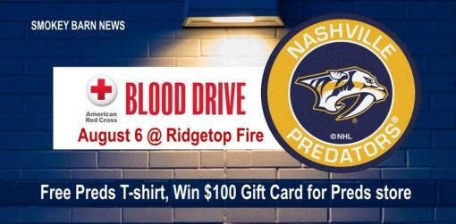 Blood Drive (Nashville Predators) At Ridgetop Volunteer Fire Dept