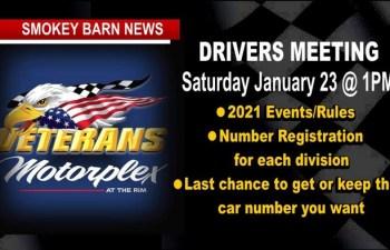 Veteran's Motorplex Drivers Meeting Rescheduled, Set For Jan 23