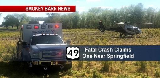 Hwy 49 Crash Claims One Life Near Springfield