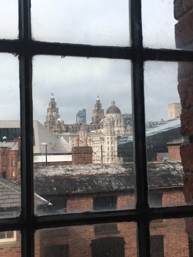 Liver building viewed from Tate in Albert Dock