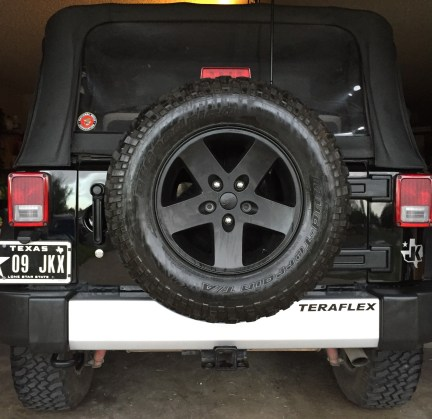 The Jeep's factory rear bumper weighs 15 pounds, and is easily removed by one person.