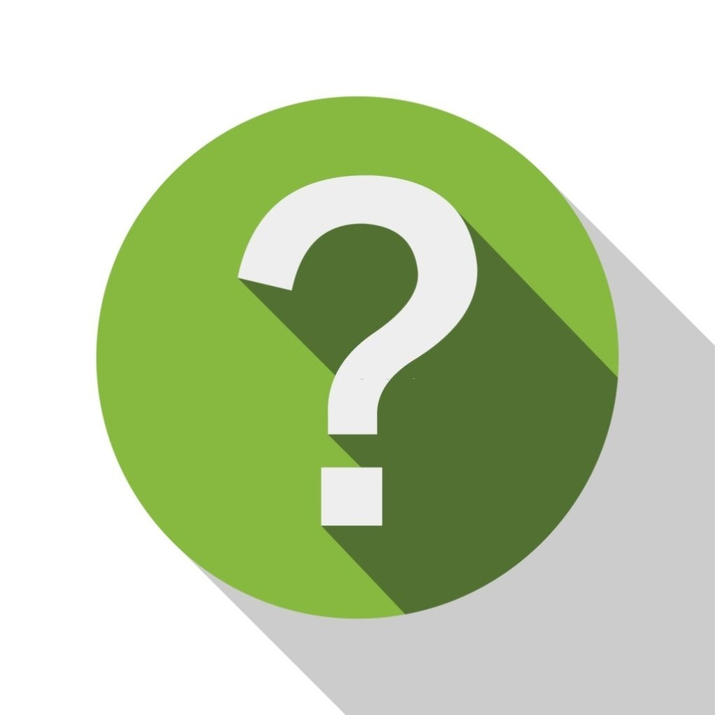 Question mark icon with white background.