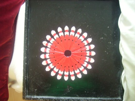 Wäscheklammerstern weiß + rot