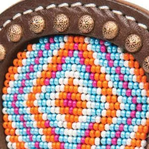 Multicolored Diamond Beading with Brown Leather