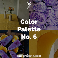 Vibrant color palette of yellows and purples.
