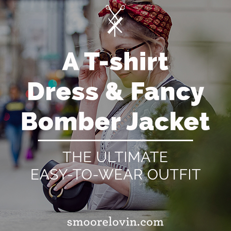 A T-shirt Dress & Fancy Bomber Jacket | The Ultimate Easy-to-Wear Outfit