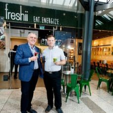 Freshii Ireland franchise holders Dave O'Donoghue and Cormac Manning outside the CHQ store in Dublin. Photograph: Andres Poveda
