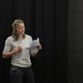 Henri Merriam rehearsing Titus Andronicus