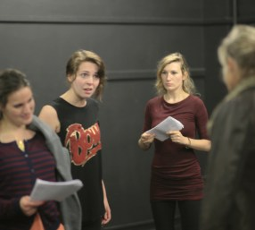 Emma and Stella rehearsing with Smooth Faced Gentlemen