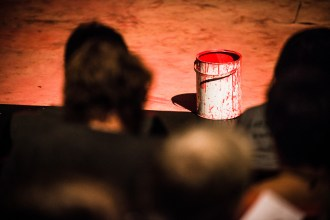 A paint can, preset as the audience enter to see 'Titus Andronicus: an all-female production' by Smooth Faced Gentlemen, at The Bedlam Theatre, Edinburgh Fringe (photo: Daniel Harris)