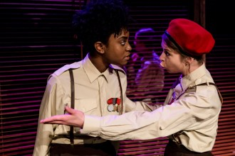 Othello (AJ Uwajeh) and Iago (Ashlea Kaye)