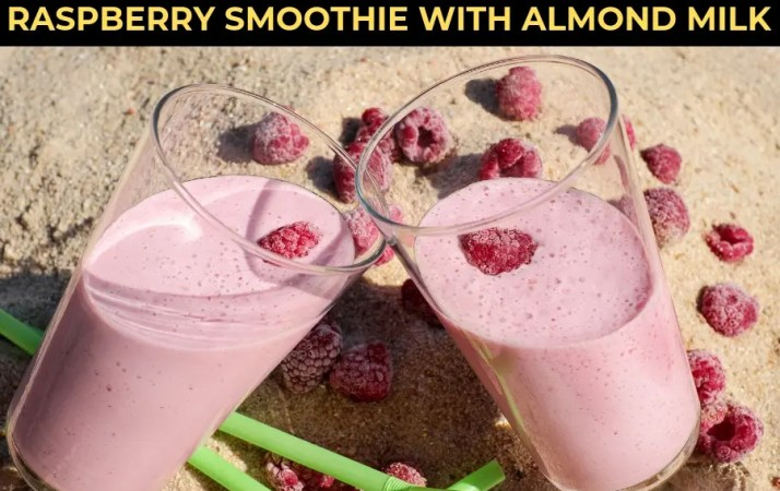 raspberry smoothie with almond milk