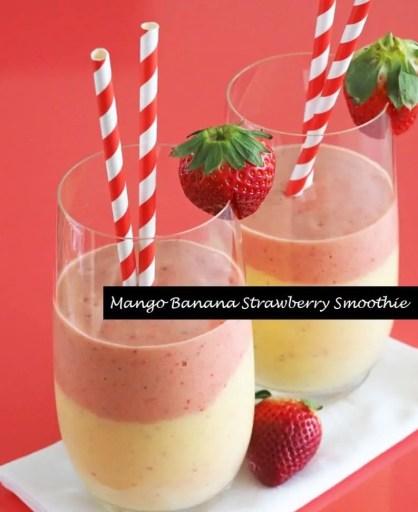Mango banana strawberry smoothie
