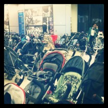 "This was the ""stroller parking"" at the Globetrotters game. SO. MANY. BABIES!"