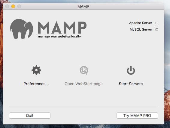 MAMP Application Start up