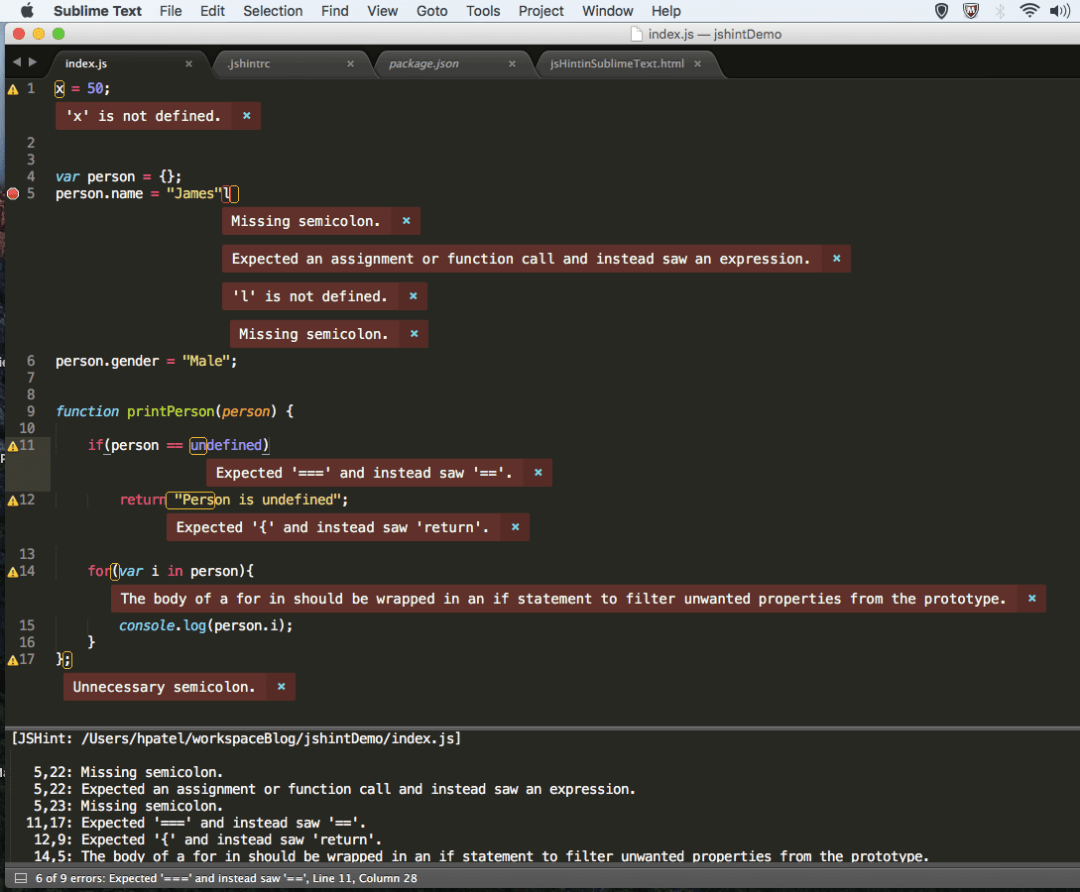 jsHint plugin shows error in sublime text