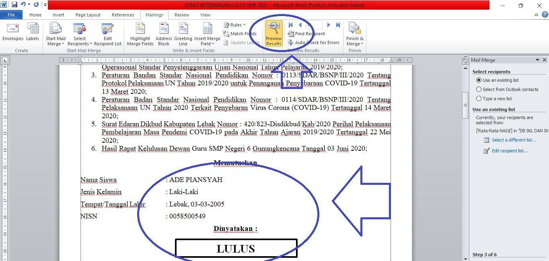 Cara Membuat Mail Merge Word Excel untuk Surat Keterangan Lulus