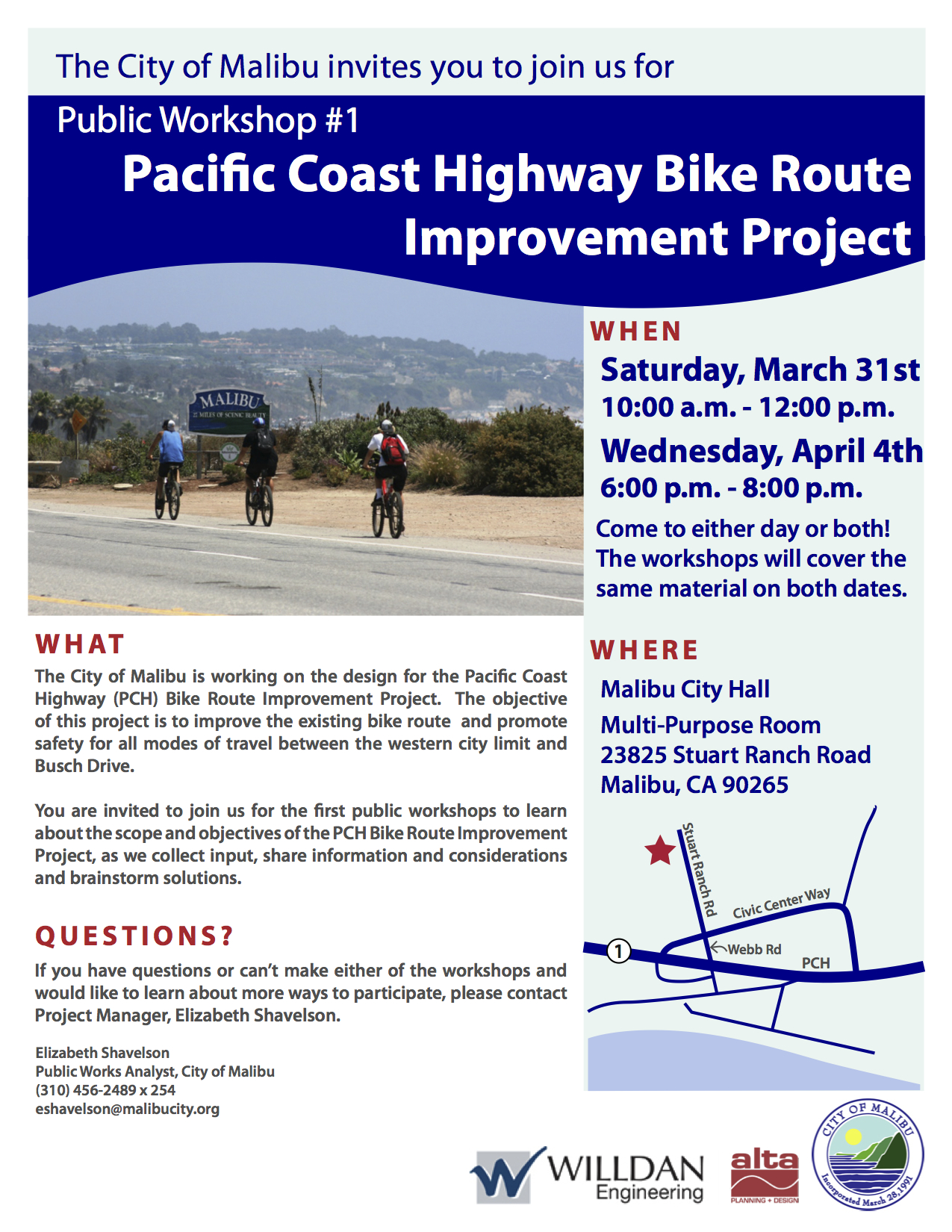 Public workshops for PCH Bike Route Improvement Project in Malibu